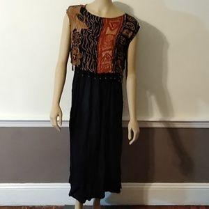 African bead tribal print vintage dress